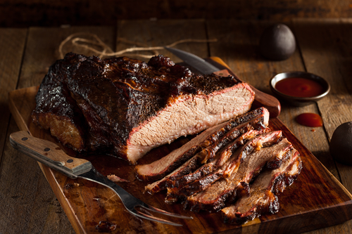 Homemade Smoked Barbecue Beef Brisket with Sauce