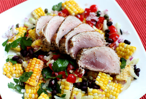 levana-cooks-seared-tuna-with-black-bean-corn-salsa