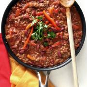 Pan of chili con carne, ready to serve.