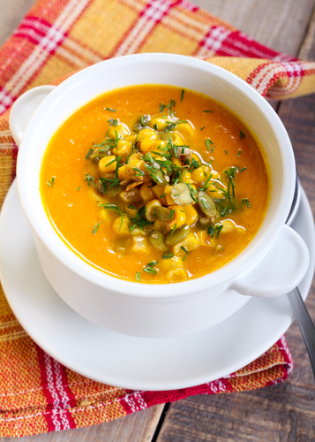 Pumpkin and corn soup with seeds