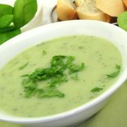 Herb soup garnished with fresh sorrel