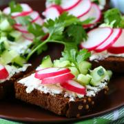 toast with cheese and radish, food closeup
