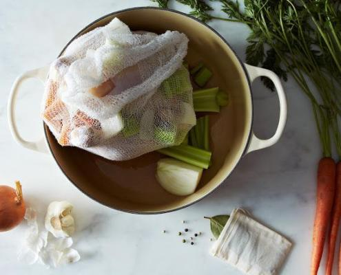 wrap and boil cheesecloth bags