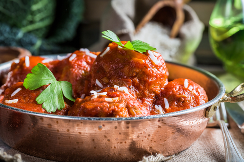Closeup of meatballs in tomato sauce