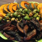Roasted-Kabocha-Brussels-Sprouts-Portobello-Levana-Cooks