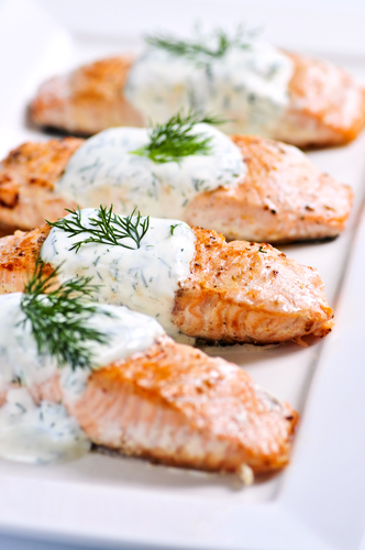 Cold poached salmon with horseradish dill sauce recipe for Dill sauce for fish