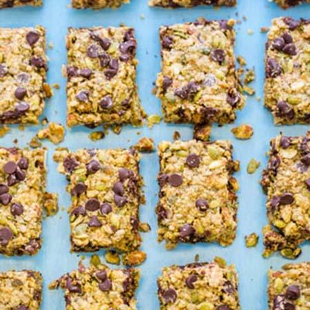 Gourmet gluten free but bars with nuts and chocolate chips.