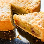 Apple crumble pie is made with fresh apples, cinnamon, and a brown sugar and butter topping