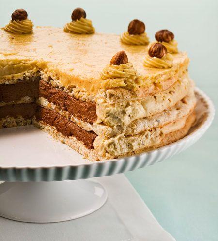 Hazelnut Almond Mocha Dacquoise Meringue Cake Recipe
