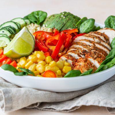 Corn avocado chicken salad
